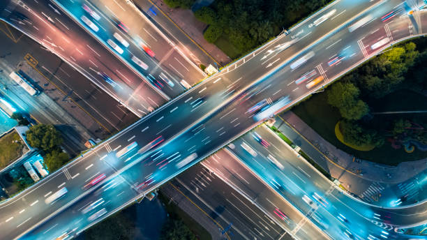 Aerial view of overpass at night:スマホ壁紙(壁紙.com)