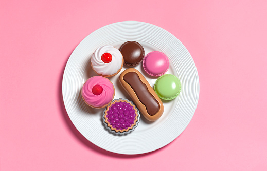 Pink Background「Sugar rush,toy food on plate」:スマホ壁紙(3)