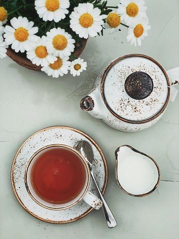 Teapot「Tea time. Overhead view of cup of English Breakfast tea, tea pot and milk」:スマホ壁紙(7)