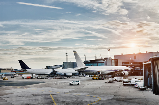 Aircraft「Airplanes and vehicles on the apron at sunset」:スマホ壁紙(19)