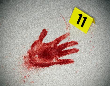 Number 11「Bloody Handprint and Evidence MArker」:スマホ壁紙(3)