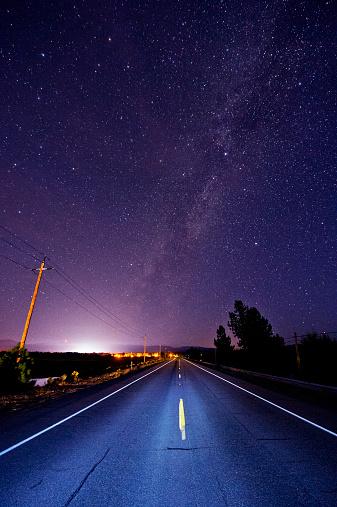 Uncertainty「Paved road under starry night sky illuminated by headlights」:スマホ壁紙(13)
