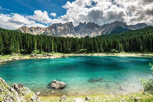 Central Eastern Alps「Lago di Carezza- Karersee,near Bolzano, Trentino-Alto Adige, Italy」:スマホ壁紙(18)