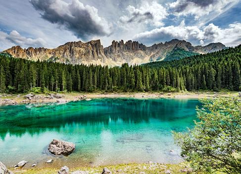 Central Eastern Alps「Lago di Carezza- Karersee,near Bolzano, Trentino-Alto Adige, Italy」:スマホ壁紙(17)