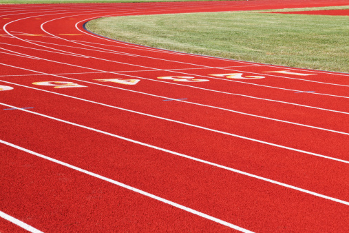 Track And Field「Red Running Track Numbered Lanes with White Lines」:スマホ壁紙(13)