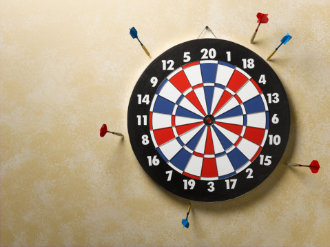 Problems「Red and blue darts in wall around red, white and blue dart board」:スマホ壁紙(9)
