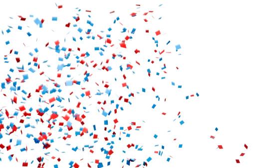 お祝い「赤とブルーの紙ふぶきフォーリングアゲインストホワイト」:スマホ壁紙(14)