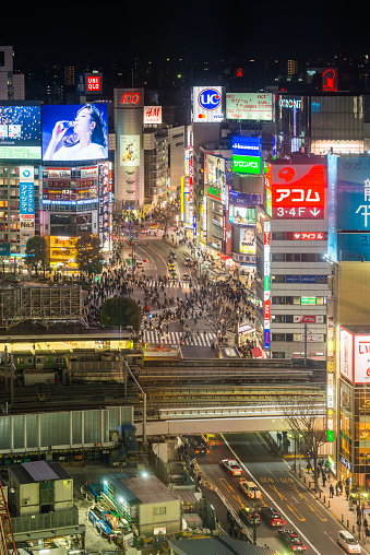 Crowd「Tokyo Shibuya Crossing neon billboards electric night aerial cityscape Japan」:スマホ壁紙(15)