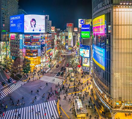 Shinjuku Ward「Tokyo Shibuya Crossing neon billboards crowded city streets night Japan」:スマホ壁紙(18)