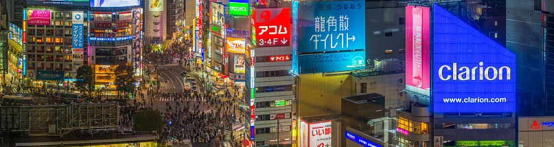 Crowd「Tokyo Shibuya Crossing futuristic neon night aerial cityscape panorama Japan」:スマホ壁紙(14)