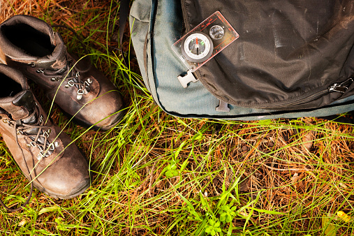 Hiking「Looking down on hiking boots, backpack and compass, outdoors」:スマホ壁紙(7)