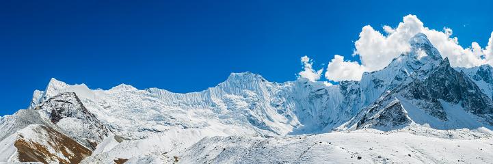 Island Peak「Fluted snow ridges below Ama Dablam HImalayan mountain panorama Nepal」:スマホ壁紙(4)