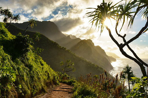 Hawaii Beach「Beautiful Na Pali coast sunset from the Kalalau Trail on Kauai's north shore」:スマホ壁紙(17)