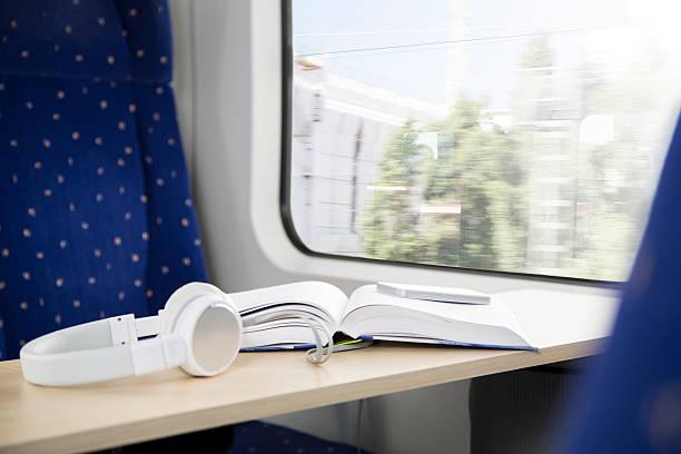 Book, smartphone and headphones in a train:スマホ壁紙(壁紙.com)