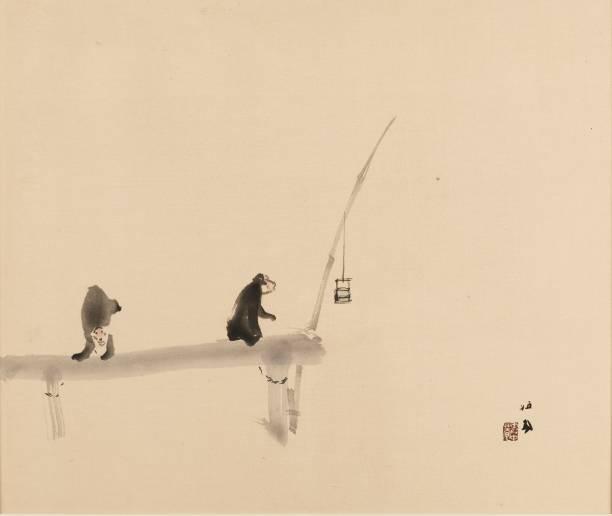 Woodblock Print - Two Monkeys On A Jetty:ニュース(壁紙.com)