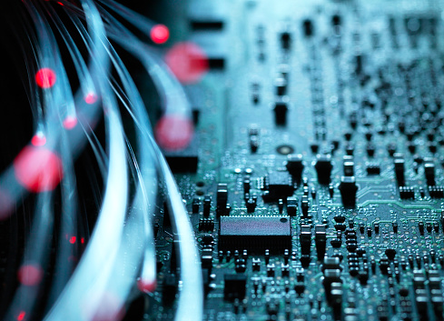 Cable「Fibre optics, hardware, circuit board in the background」:スマホ壁紙(18)