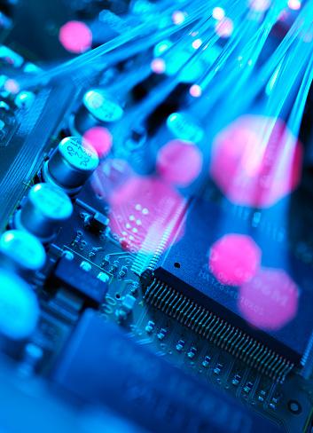 Mother Board「Fibre optics carrying data passing across electronic circuit board」:スマホ壁紙(17)