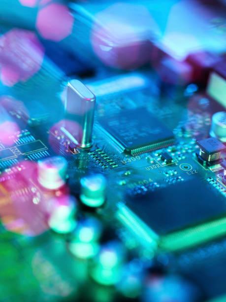 Fibre optics carrying data passing across electronic circuit board:スマホ壁紙(壁紙.com)