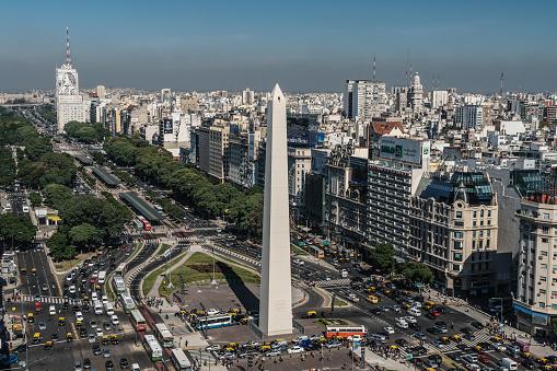 Buenos Aires「Aerial vew of main boulevard, Av de 9 Julio, with landmark Obelisk and cityscape, Buenos Aires, Argentina」:スマホ壁紙(6)
