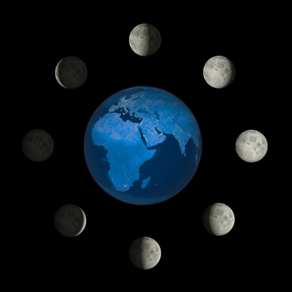 満ちていく月「Moon phases around the earth.」:スマホ壁紙(1)