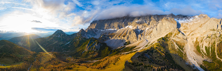 Dachstein Mountains「breathtaking panoramic aerial view in austrian mountains at sunset」:スマホ壁紙(2)