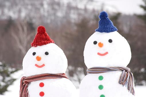 雪だるま「Snowman couple wearing hats and scarves」:スマホ壁紙(5)