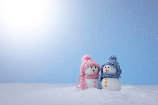 雪だるま「Snowman Couple」:スマホ壁紙(3)