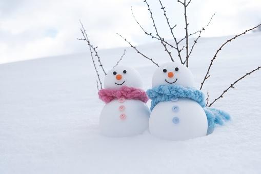 雪だるま「Snowman couple」:スマホ壁紙(0)