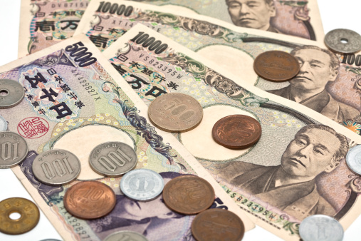 Currency「Close up image of Japanese Yen on a white background」:スマホ壁紙(7)