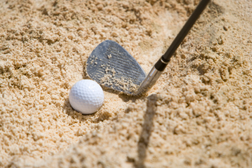 Sand Trap「Close Up Image of Golf Ball in Bunker 」:スマホ壁紙(13)