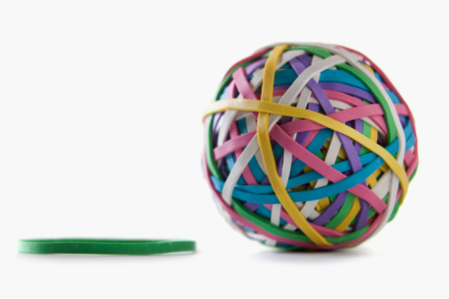 Stretching「Ball of colorful rubber bands」:スマホ壁紙(6)