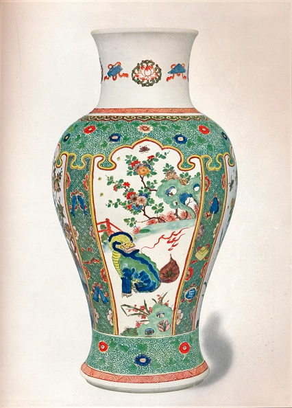 Rock - Object「Famille Verte Vase, with four upright panels painted with rocks and flowering plants, two monsters, Artist: Unknown」:写真・画像(17)[壁紙.com]