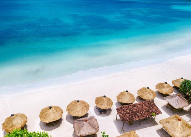 Straw beach umbrellas and blue ocean. Beach scene from above:スマホ壁紙(壁紙.com)