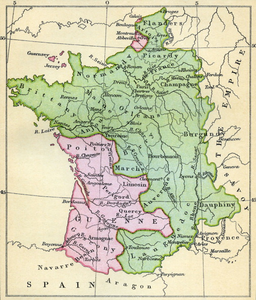 Circa 14th Century「Map of France at the Treaty of Brétigny」:写真・画像(5)[壁紙.com]