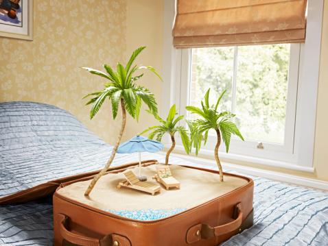 Digital Composite「tropical beach scene inside a suitcase」:スマホ壁紙(18)