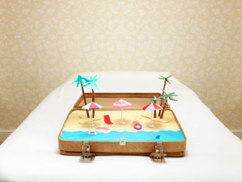 Fitness model「tropical beach scene inside a suitcase」:スマホ壁紙(4)