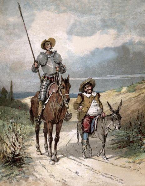 "Illustration「Don Quixote and Sancho Panza, illustration of book by Miguel de Cervantes ""Histoire de Don Quichotte"", engraving after Jules David, 1922」:写真・画像(14)[壁紙.com]"
