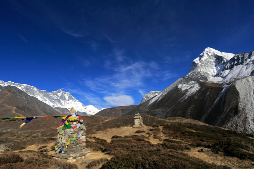 Khumbu「Buddhist Stupa with Prayer flags, Deboche village」:スマホ壁紙(15)