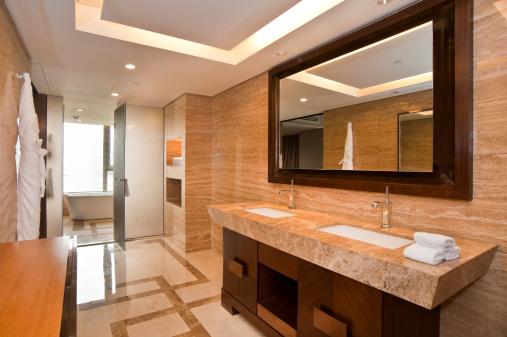 Hotel「Elegant marble bathroom with two sinks」:スマホ壁紙(10)