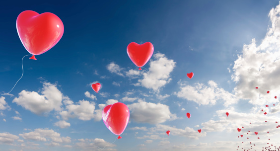 Love - Emotion「Bunch of heart shaped balloons appearing from horizon」:スマホ壁紙(18)