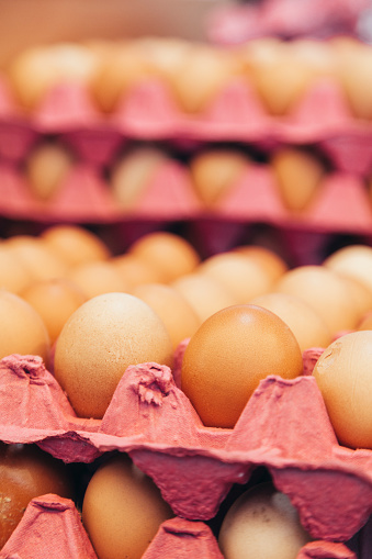 Free Range「Brown organic Free-range eggs on egg carton, close-up」:スマホ壁紙(12)