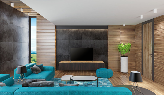 Villa「Modern Nordic house living room with wooden walls」:スマホ壁紙(10)