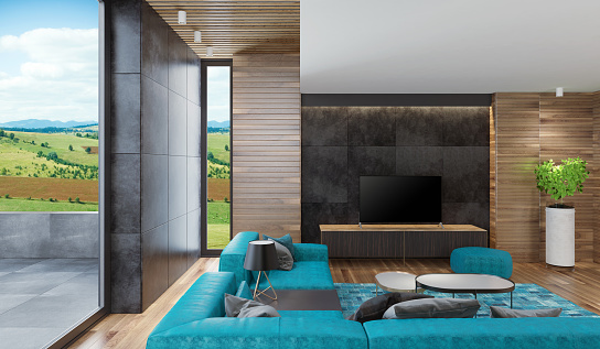 2019「Modern Nordic house living room with wooden walls」:スマホ壁紙(11)
