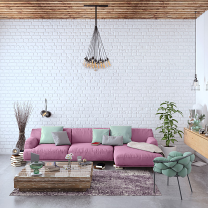 Brick Wall「Modern Nordic living room interior with sofa and lots of details」:スマホ壁紙(3)