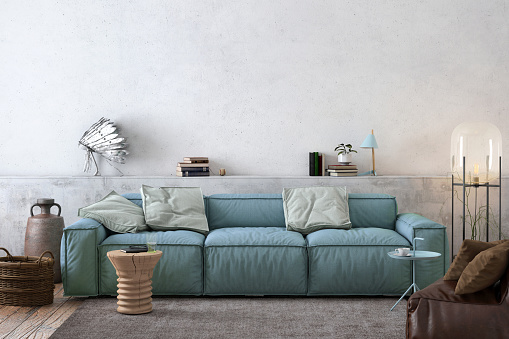 Retro Style「Modern Nordic living room interior with sofa and lots of details」:スマホ壁紙(11)