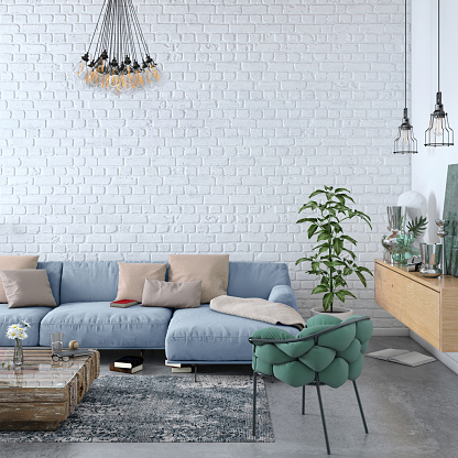 Brick Wall「Modern Nordic living room interior with sofa and lots of details」:スマホ壁紙(2)