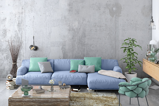 Pastel「Modern Nordic living room interior with sofa and lots of details」:スマホ壁紙(4)