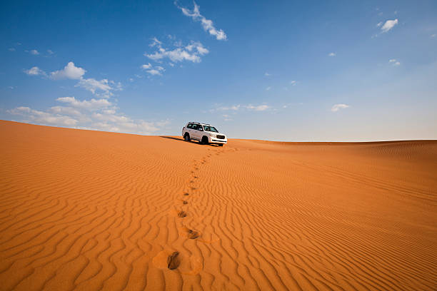 4WD car and footprints in the desert:スマホ壁紙(壁紙.com)