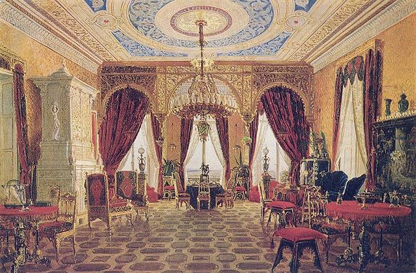 Chromolithograph「Drawing room in the Manor House Grafskaya Slavyanka of Countess Julia Samoilova, Mid of the 19th c」:写真・画像(7)[壁紙.com]