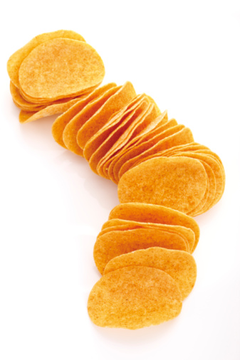 Eating「Potato chips in a row, elevated view」:スマホ壁紙(3)